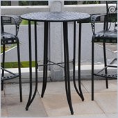 International Caravan Iron KD 30 Round Bar Height Table in Antique Black
