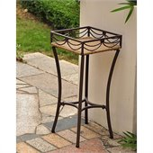 International Caravan Valencia Outdoor Wicker Resin Square Plant Stand