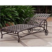 International Caravan Santa Fe Wrought Iron Outdoor Single Chaise in Brown Matte
