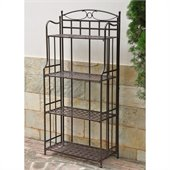 International Caravan Santa Fe Outdoor Iron Bakers Rack
