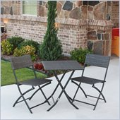 International Caravan Aledo 3 Piece Wicker Resin Patio Bistro Set