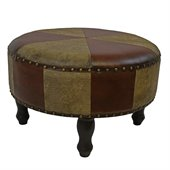 International Caravan Sicily 24 Round Ottoman Stool in Mix Pattern