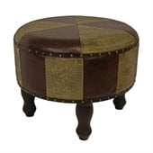 International Caravan Sicily 20 Round Ottoman in Mix Pattern