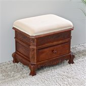 International Caravan Upholstered 1 Drawer Vanity Stool in Mahogany