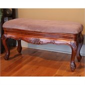 International Caravan Carved Wood Vanity Bench in Mahogany