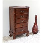 International Caravan Five Drawer Carved Jewelry Chest in Mahogany