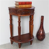 International Caravan Carved Wood Half Moon Wall Table in Mahogany