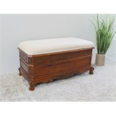 International Caravan Carved Wood Trunk Bench in Mahogany