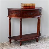 International Caravan Carved Half Moon Wall Table in Mahogany