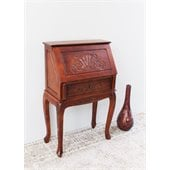 International Caravan Carved Small Secretary Desk  in Mahogany