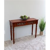 International Caravan Carved Two Drawer Table in Mahogany