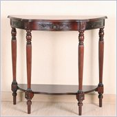 International Caravan Carved Wood Half Moon Console Table in Mahogany