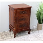 International Caravan Carved Wood Three End Table in Mahogany