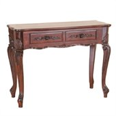 International Caravan Carved Wood Queen Anne Hall Table in Mahogany