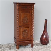 International Caravan Carved Wood 1 Drawer Tall Accent Table in Mahogany