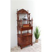 International Caravan Carved Wood Two Door Bookshelf in Mahogany