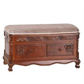 International Caravan Carved Wood 2 Drawer Storage Bench in Mahogany