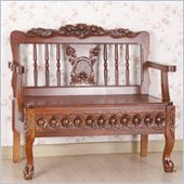 International Caravan Carved Lift Seat Storage Wood Bench in Mahogany