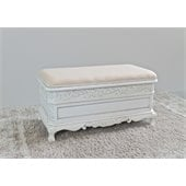 International Caravan Carved Wood Trunk Bench in White