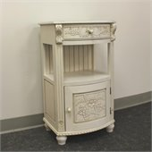 International Caravan One Drawer Telephone Accent Table in White
