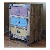 International Caravan  Vintage Multicolored 3-Drawer Lamp Table