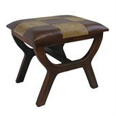 International Caravan Sicily Faux leather Stool in Mixed Pattern 
