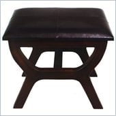 International Caravan Sicily Faux Leather Stool in Dark Chocolate