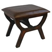 International Caravan  Sicily Faux Leather Stool in Brown