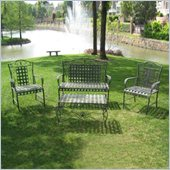 International Caravan Sunray Wrought Iron Settee in Bronze (Set of 4)