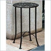 International Caravan Mandalay 15 Wrought Iron Table in Antique Black 