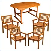 International Caravan Royal Tahiti 7-Piece Dining Set in Balau Stain 
