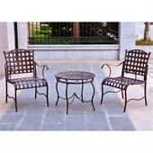 International Caravan Santa Fe Outdoor 3 Piece Bistro Set in Brown