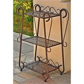 International Caravan Santa Fe Set 3-Tier Plant Shelf in Rustic Brown