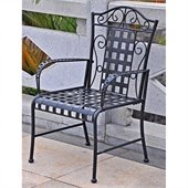 International Caravan Mandalay Iron Chairs in Antique Black (Set of 2)