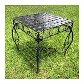 International Caravan Mandalay 20 Iron Side Table in Antique Black