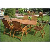International Caravan Saragossa 7 Piece Dining Set in Balau Stain 