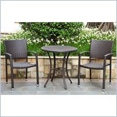 International Caravan Barcelona 3-Piece Patio Bistro Set in Chocolate