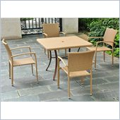 International Caravan Barcelona Aluminum 5-Piece Patio Set in Honey