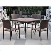 International Caravan Barcelona 5-Piece Patio Set in Antique Brown 