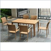 International Caravan Barcelona 7 Piece Wicker Patio Set in Honey