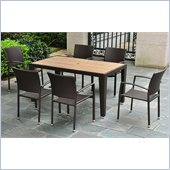 International Caravan Barcelona 7 Piece Wicker Patio Set in Chocolate