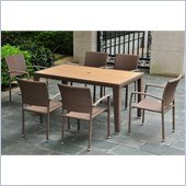 International Caravan Barcelona 7 Piece Patio Set in Antique Brown