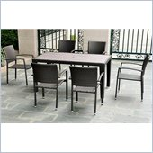 International Caravan Barcelona 7 Piece Patio Set in Black Antique