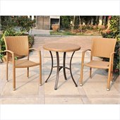 International Caravan Barcelona 3 PCS Wicker Bistro Set in Honey