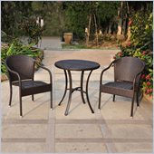 International Caravan Barcelona 3 PCS Wicker Bistro Set in Chocolate