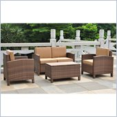 International Caravan Barcelona 4 PCS Patio Set with Storage in Brown