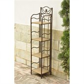 International Caravan Valencia 4-Tier Wicker Plant Shelf in Honey