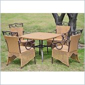 International Caravan Valencia 5-Piece Wicker Dining Set in Honey
