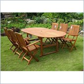 International Caravan Royal Tahiti 7 PCS Dining Set in Premium Stain 