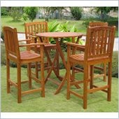 International Caravan Royal Tahiti 4-Piece Dining Set in Premium Stain